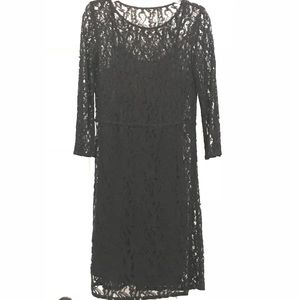 Madewell size 4 Black quarter sleeve lace dress